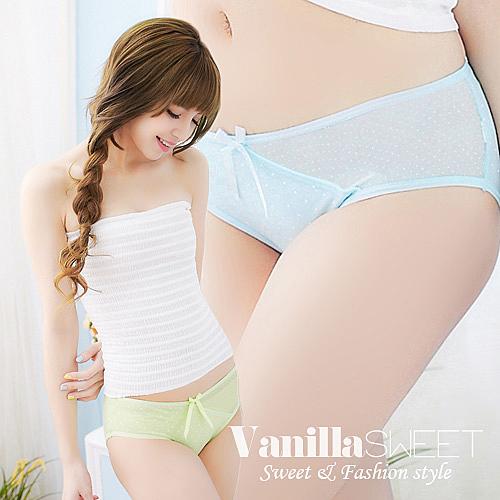 棉質Mix側邊網紗水玉點點內褲 甜漾蜜戀 - 香草甜心