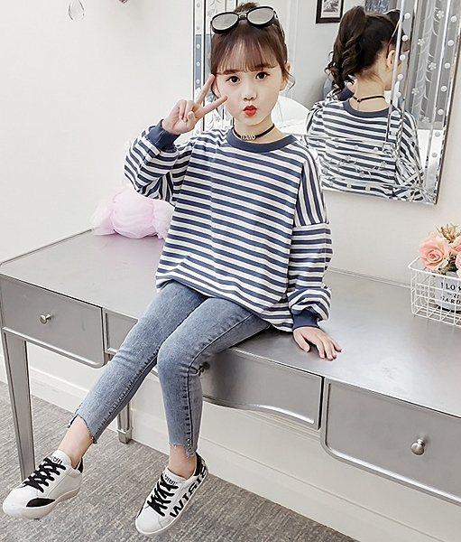 衣童趣↘韓版 時尚鉚釘 韓版彈力牛仔長褲 外出休閒百搭款長褲 必備