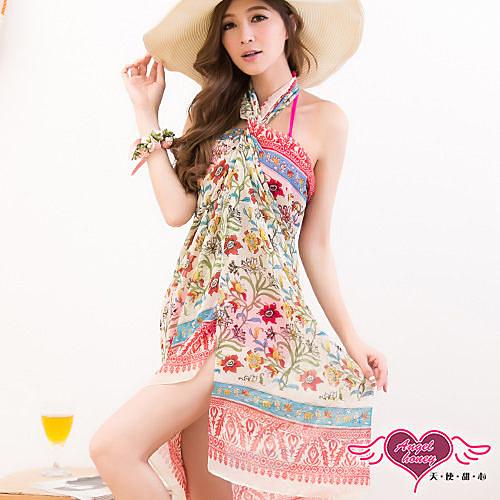 天使甜心 睡衣館  VA14418黃 花朵 多種穿法外搭紗裙 海灘巾 溫泉SPA泡湯