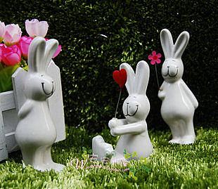 家居工藝品擺件/園藝庭院裝飾/陶瓷小動物/卡通小白兔子