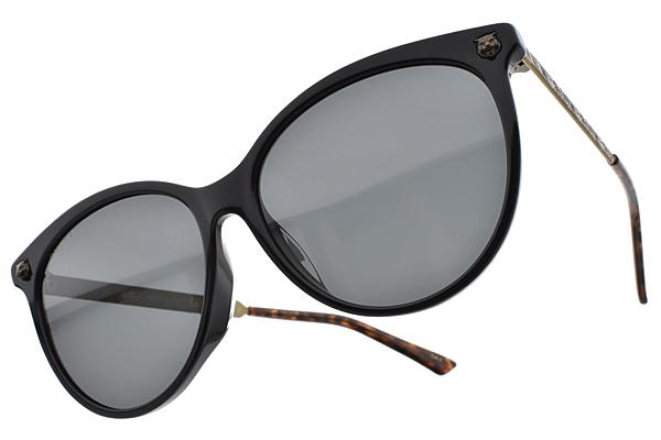 GUCCI 太陽眼鏡 GG0223SK 001 (黑復古金-灰鏡片) 歐美率性女王款 # 金橘眼鏡