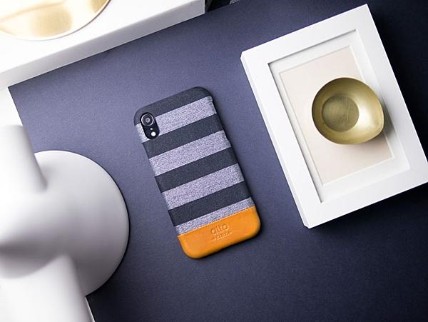 Alto iPhone XR 真皮手機殼背蓋 6.1吋 Denim - 灰條紋 【可加購客製雷雕】皮革保護套