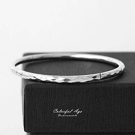 925純銀手鍊 亮面菱格波紋圓形手環 混搭手錶或單配 都會女伶氣質感 柒彩年代【NPA12】可打開配戴