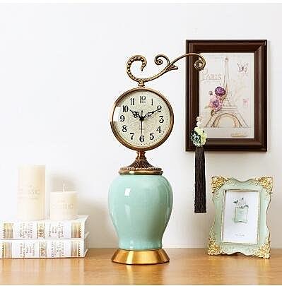 【(瓷綠色)】新中式客廳鐘錶座鐘歐式複古臺鐘靜音擺件桌面臺式時鐘