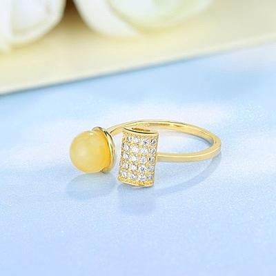 戒指 925純銀 琥珀-鑲鑽開口生日情人節禮物女開口戒73ga35[時尚巴黎]