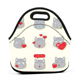 バレンタインランチバッグ、厚い断熱ランチボックスバッグ、子供旅行ピクニックオフィスのジッパー閉鎖付きトートボックスの漫画かわいい猫の感情表現