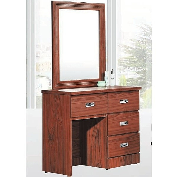 化妝台 鏡台 AT-585-8 淺柚木山寨2.7尺鏡台 (含椅)【大眾家居舘】