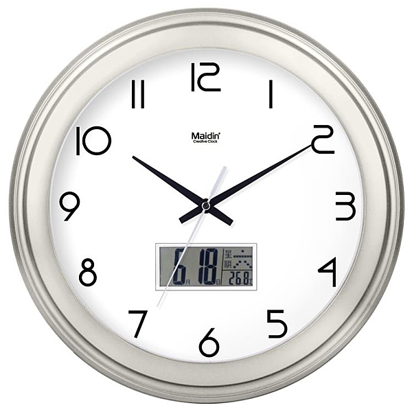 [超豐國際]鐘表掛鐘客廳圓形創意時鐘掛表簡約靜音電子石英鐘萬1入
