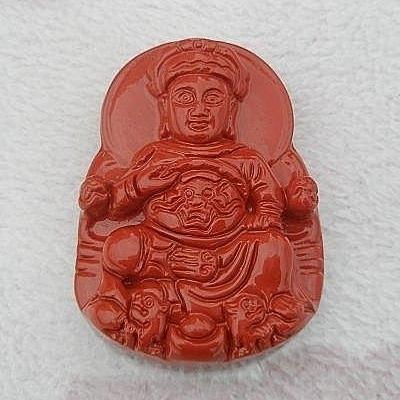 【歡喜心珠寶】【廣澤尊王雕像墜子】天然硃砂壓製膠結成品「附保証書」硃砂具安神護身避邪