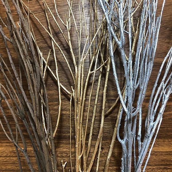 天然乾樹枝,金、銀色,聖誕裝飾,一束4-6支長度約40-50