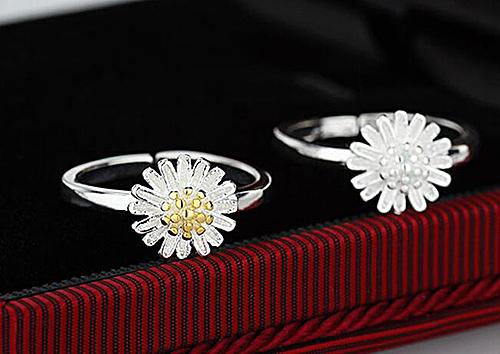【A&Angel New York】清新太陽燦爛花朵開口可調節戒指(銀色黃金色2色)