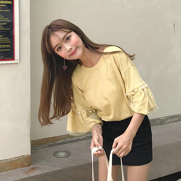 [超豐國際]夏裝寬松百搭顯瘦上衣學生網紗拼接喇叭袖白色T恤女1入
