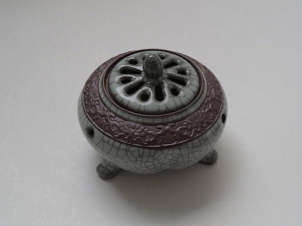 哥窯冰裂開片瓷鼎茶道檀香爐