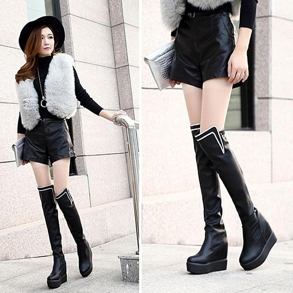 女冬新款高跟過膝瘦腿長靴子鬆糕厚底內增高高筒靴 萬客居