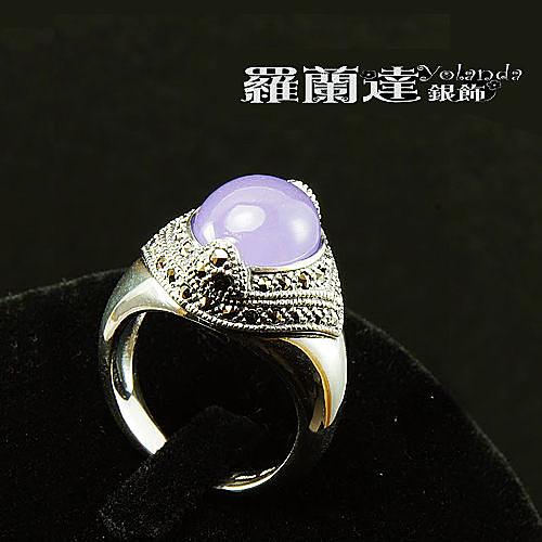 戒指925純銀。復古系列-華麗年代--馬克賽石+紫玉髓--戒圍#12,內徑約1.7CM。【羅蘭達銀飾】