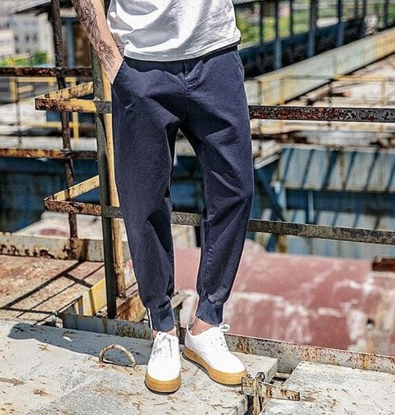 找到自己 MD 日系 街頭 復古 潮 男 時尚 休閒寬鬆 雙層口袋 束口 九分褲 休閒長褲