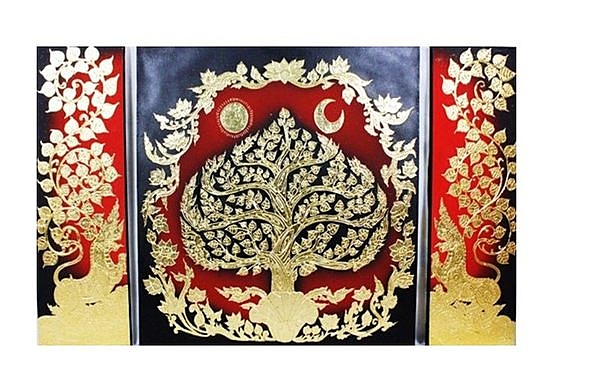 泰式風情 掛件 金箔畫 菩提樹三件套