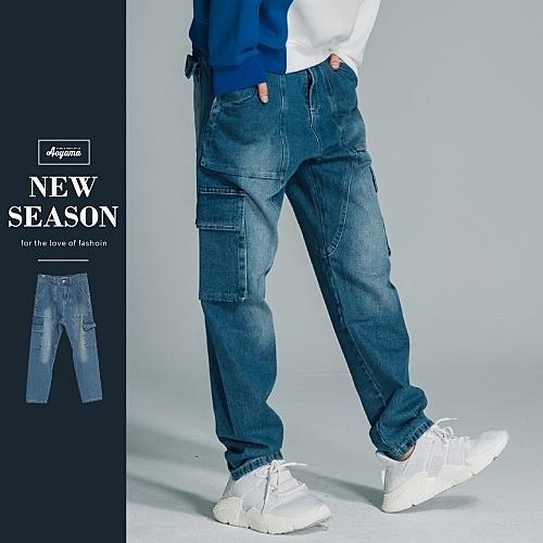 牛仔褲 歐美復古寬鬆多口袋牛仔褲寬褲【T827038】