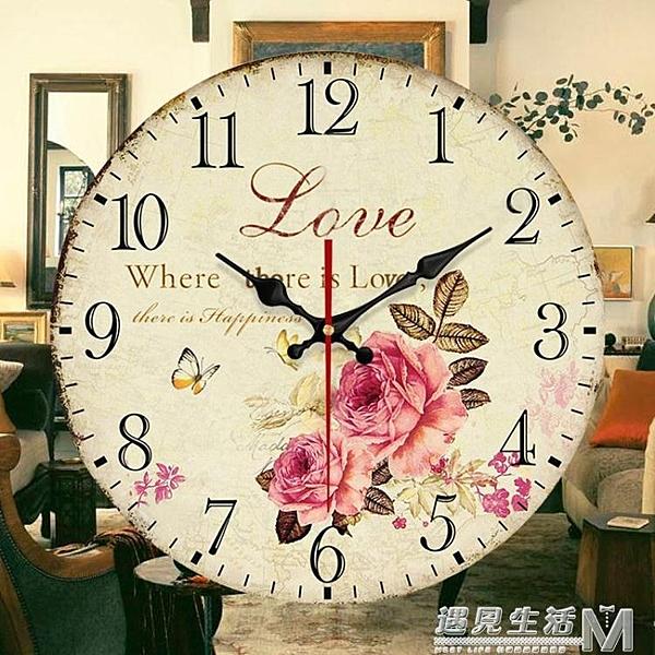 大號餐廳掛鐘表客廳歐式田園風靜音時鐘創意藝術裝飾壁鐘現代簡約
