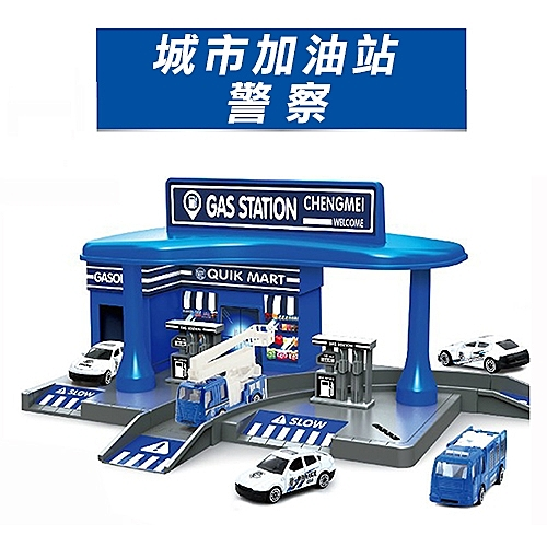 【17mall】城市加油站停車場軌道模型-警察款