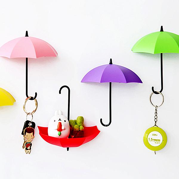 【BlueCat】居家布置 繽紛雨傘牆壁掛勾支架 擺飾 掛鉤 (3入)
