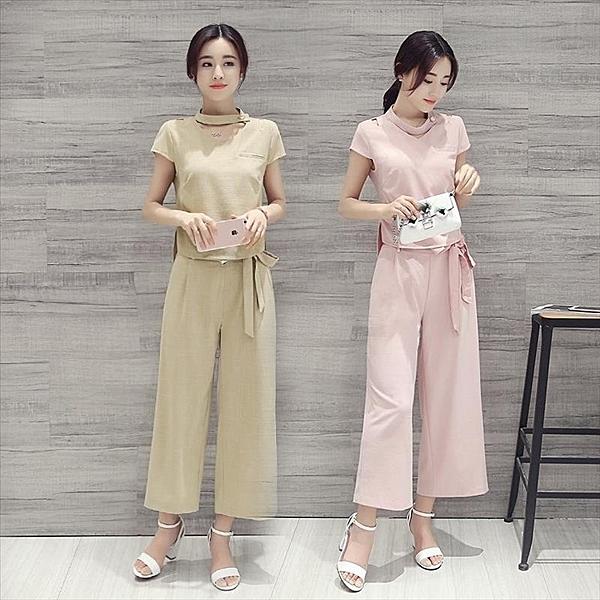 找到自己 G5 韓國時尚 兩件套 短款 T袖 + 長款 鬆緊 闊腳褲 夏季 套裝