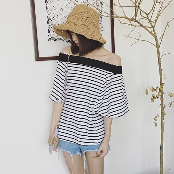 [超豐國際]夏季拼色一字領露肩條紋t恤上衣女裝寬松顯瘦半1入