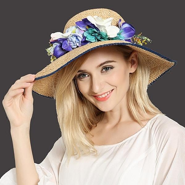 山茶樹手勾拉菲草帽女士大沿帽太陽帽夏季天遮陽沙灘帽藍邊花環  -396400111