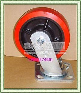 4寸紅聚氨酯重型輪子  萬向輪