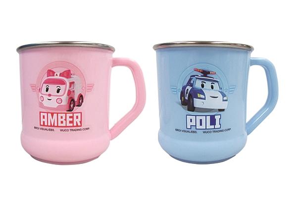 小饅頭**POLI 不鏽鋼水杯(粉/藍)(460-56506)