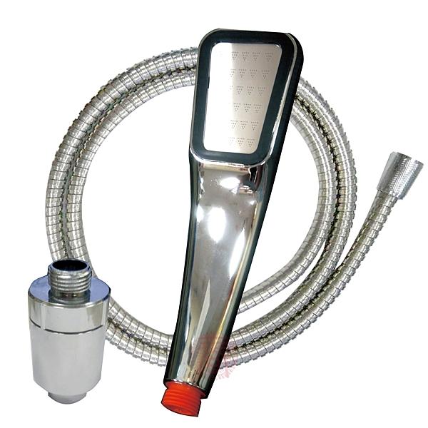 愛家捷 300孔噴水頭SPA級按摩細水柱蓮蓬頭+140CM不鏽鋼軟管+輕型濾芯(全銀色組) 超值淋浴組