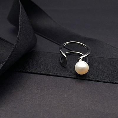 戒指 925純銀珍珠-柔美浪漫生日情人節禮物女開口戒73ic16【時尚巴黎】
