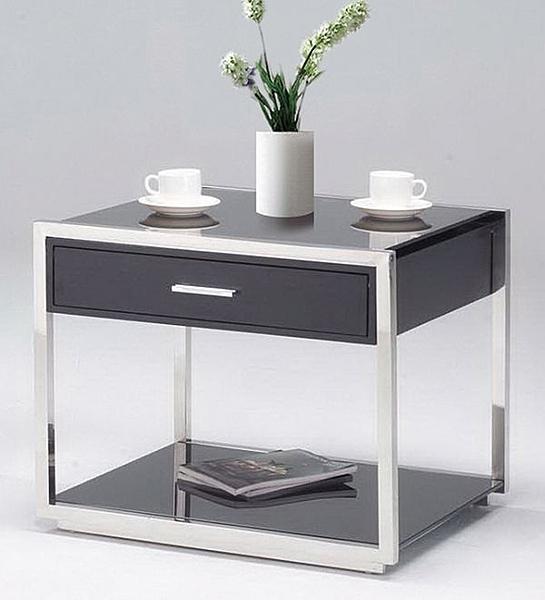 HY-Y236-6  洽談茶桌-有抽屜-不銹鋼/7mm強化黑玻