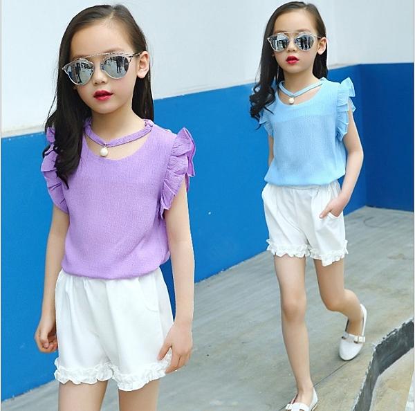 衣童趣♥韓版 中大女童 暢銷熱賣款 雪紡項鍊珍珠上衣+花邊短褲 甜美可愛款套裝