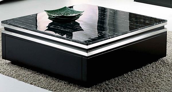 【森可家居】湯瑪斯黑色黑雲龍原石大方几 7JF271-1 茶几 方型 石面 歐風
