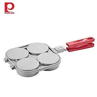 【日本珍珠金屬】車輪餅不沾雙面烤盤-銀灰色