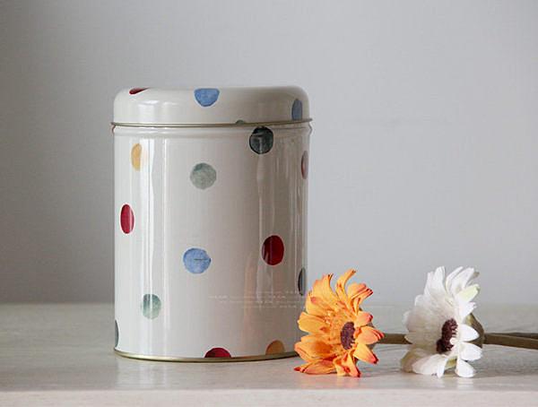 經典彩色圓點密封罐咖啡罐茶葉罐 2個/組