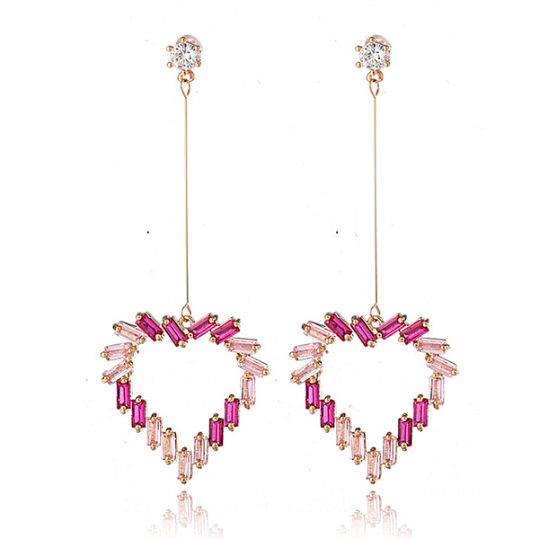 【RJNEWYORK】戀愛之心桃粉鏤空水鑽耳環(粉色針式夾式可選)