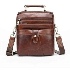 CIRA トートバッグ メンズ ショルダーバッグ メンズ 本革 牛革 斜め掛け トートバッグ カジュアル 通学 通勤 アウトドア 肩掛けバッグ 縦型 手提鞄 iPad収納かばん 紳士 ビジネス バッグ コーヒー色