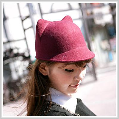 Lena愛用超萌可愛立體貓耳毛尼馬術小圓帽【O1106】 City mood ☆雙兒網☆