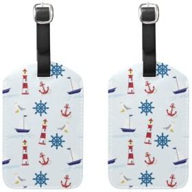 ブティックトラベルアクセサリー - 航海用パドルと灯台旅行荷物IDタグフルバックプライバシーカバー付き本革バッグタグ