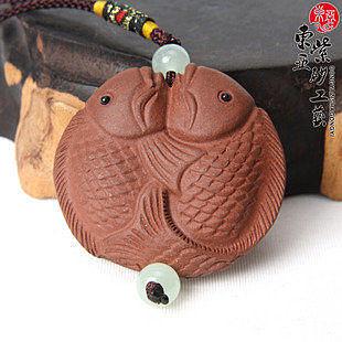 精品宜興紫砂茶寵掛件 雙魚 年年有餘 小巧精致