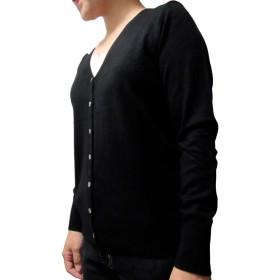 レディース ファッション 長袖 V ネック カーディガン 無地 カラフル 羽織り 柄 なし ゆったり オフィス 学生 黒 色 ブラック カラー ブランド m サイズ (01 : ブラック M)