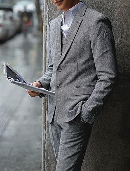 找到自己品牌 韓國男 羊毛呢人字紋 三件式西裝外套 成套西裝 修身西裝 西裝外套 外套+背心+褲子
