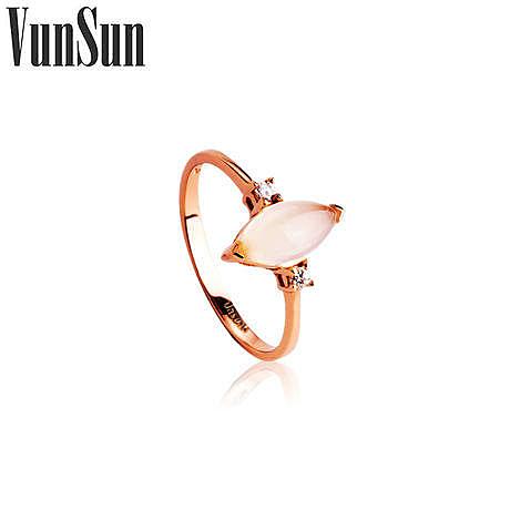 時尚飾品 銀鍍彩金指環鑲嵌玉髓戒指女