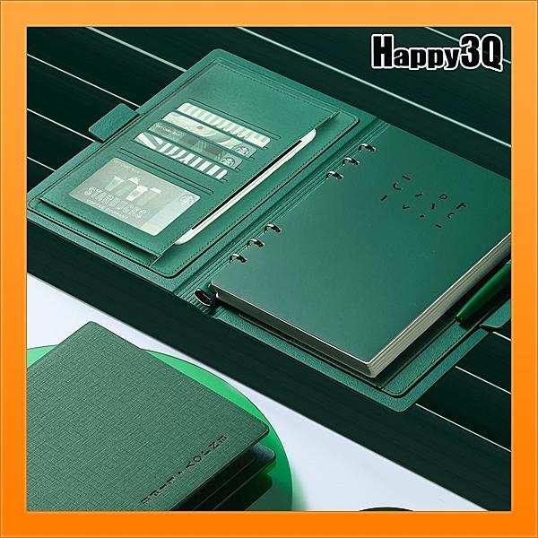 活頁筆記本六孔簿六孔本商務可拆卸手帳本文具-橘/紅/棕/黑/綠【AAA5044】預購