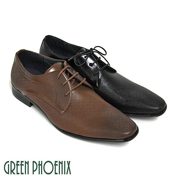 T59-10195 男款皮鞋 漸層渲染皮革壓花紋線條綁帶商務/紳士皮鞋【GREEN PHOENIX】