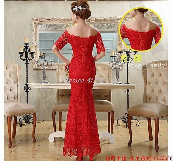 (45 Design)       7天到貨  新款紅色結婚新娘敬酒服一字肩蕾絲修身時尚甜美晚禮服春夏