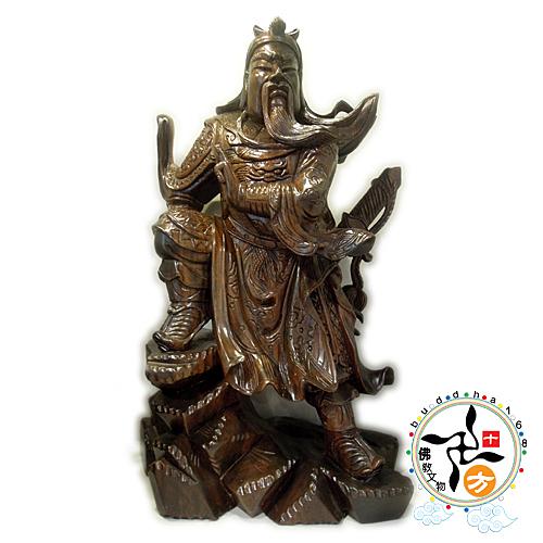 關聖帝君黑檀木雕聖像 【十方佛教文物】
