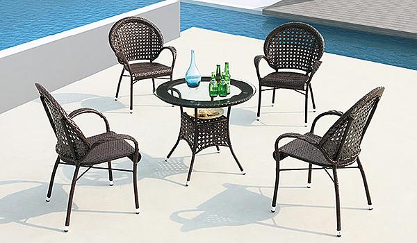 [家事達] 台灣OA-267-1/2 鋼藤休閒圓桌/休閒椅組 (一桌+四椅組) 特價---已組裝限送中部